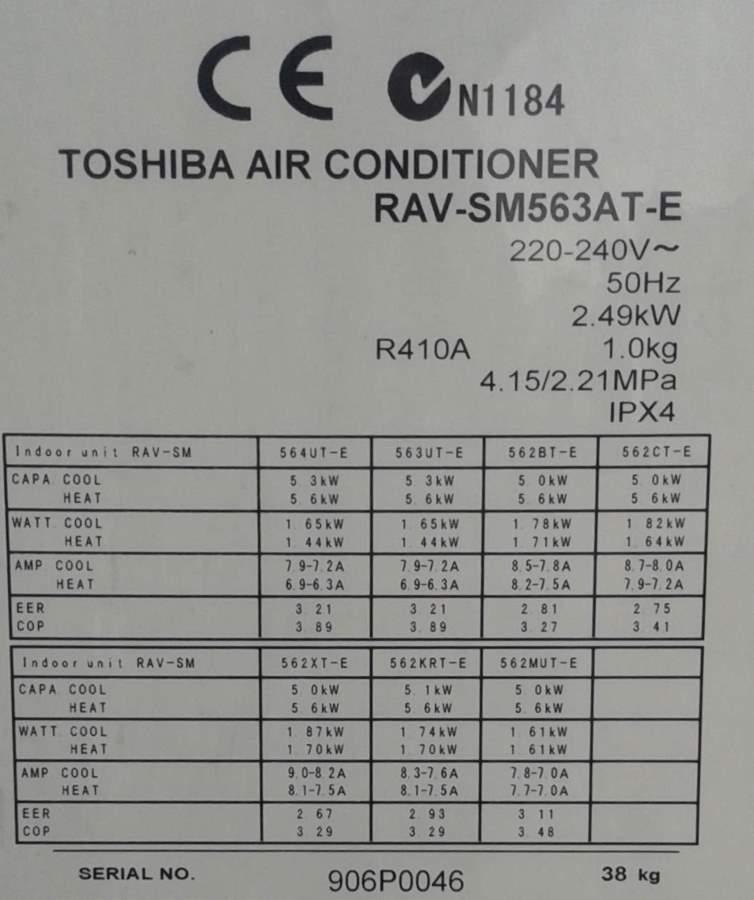 štítek venkovní klimatizace Toshiba